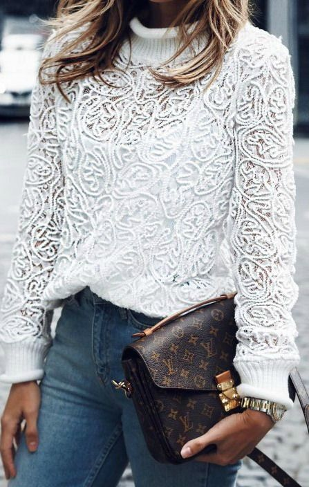 Lace high neck sweater.