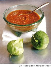 Rick Bayless' Smoky Chipotle Salsa with Pan-Roasted Tomatillos. BEST SALSA EVER.  Add chipotle chiles in adobo to taste, and a little tequila doesn't hurt either.