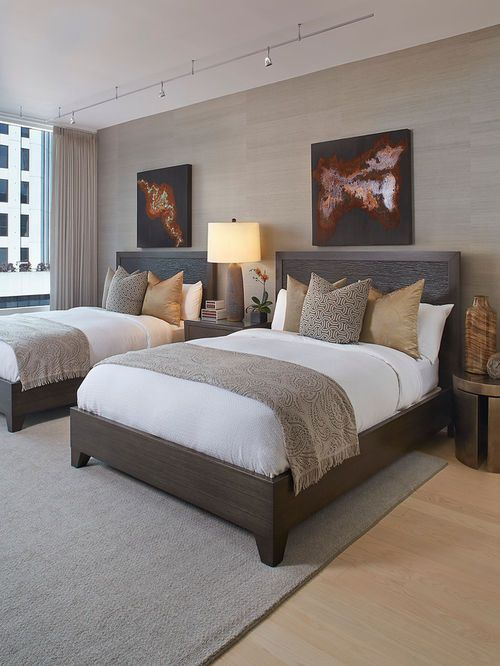 Inspiration For A Transitional Light Wood Floor Bedroom Remodel In San  Francisco With Beige Walls