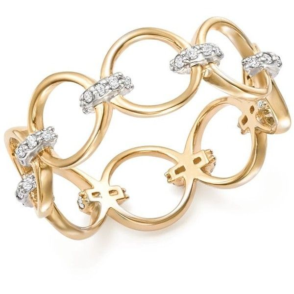 Mateo 14K Yellow Gold Diamond Connected Circle Ring ($875) ❤ liked on Polyvore featuring jewelry, rings, diamond rings, gold jewelry, circle diamond rings, 14k yellow gold ring and 14k diamond ring