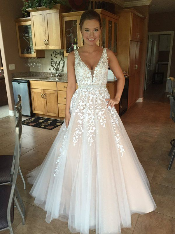 Floor Length V Neck Prom Dress With Lace on Luulla