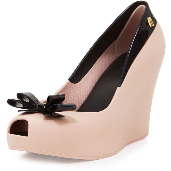 Shop Queen Peep-Toe Wedge Pump, Pink/Black from Melissa Shoes at Neiman  Marcus Last Call, where you'll save as much as on designer fashions.