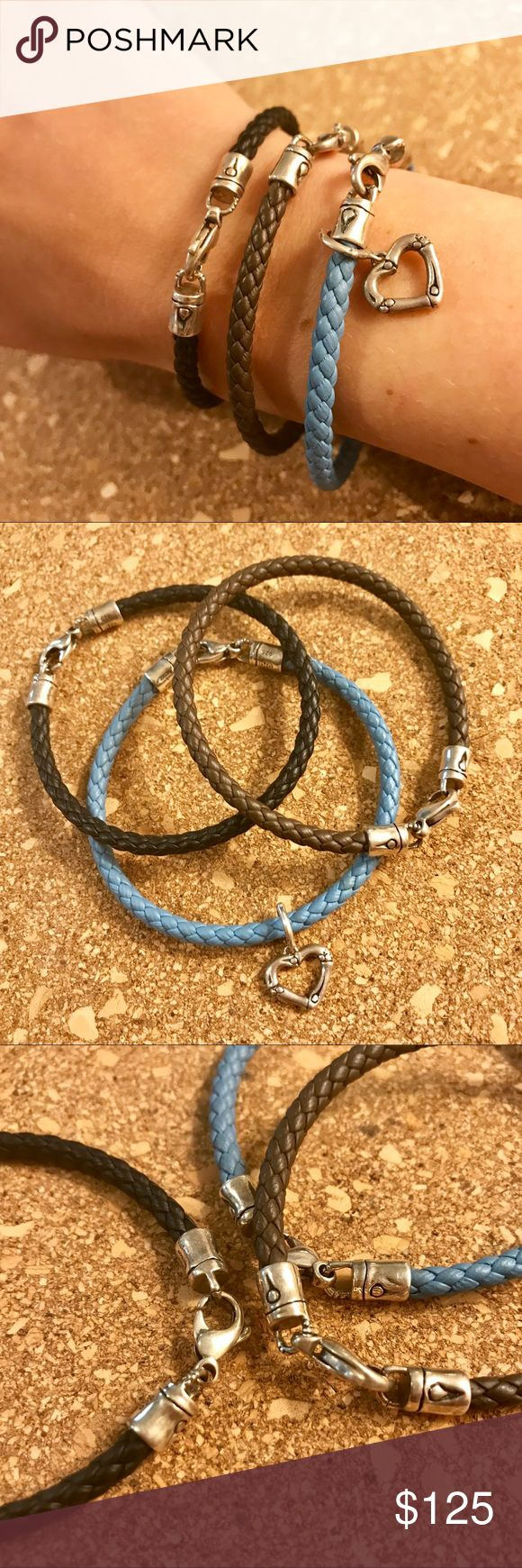 John Hardy Set of of 3 Leather Bracelets w/ Charm Brand new, never worn set of 3 woven leather bracelets with optional/removable heart charm. Bamboo collection. Each bracelet is about 7.25' around. No box or Dust Bag. John Hardy Jewelry Bracelets