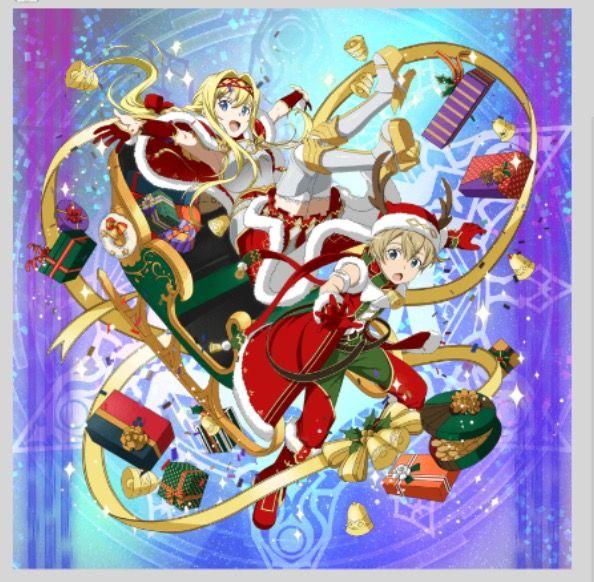 Alice And Eugeo Footsteps In The Snow Christmas Banner Sword Art Online Poster Sword Art Online Kirito Sword Art Online Christmas anime wallpaper sao