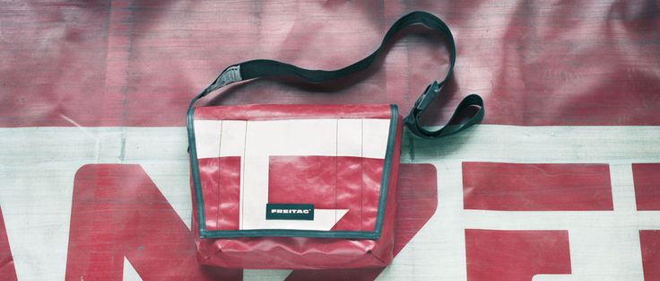 recycled truck canvas, seat belt strap, bike tire trims..    http://www.freitag.ch/about/production