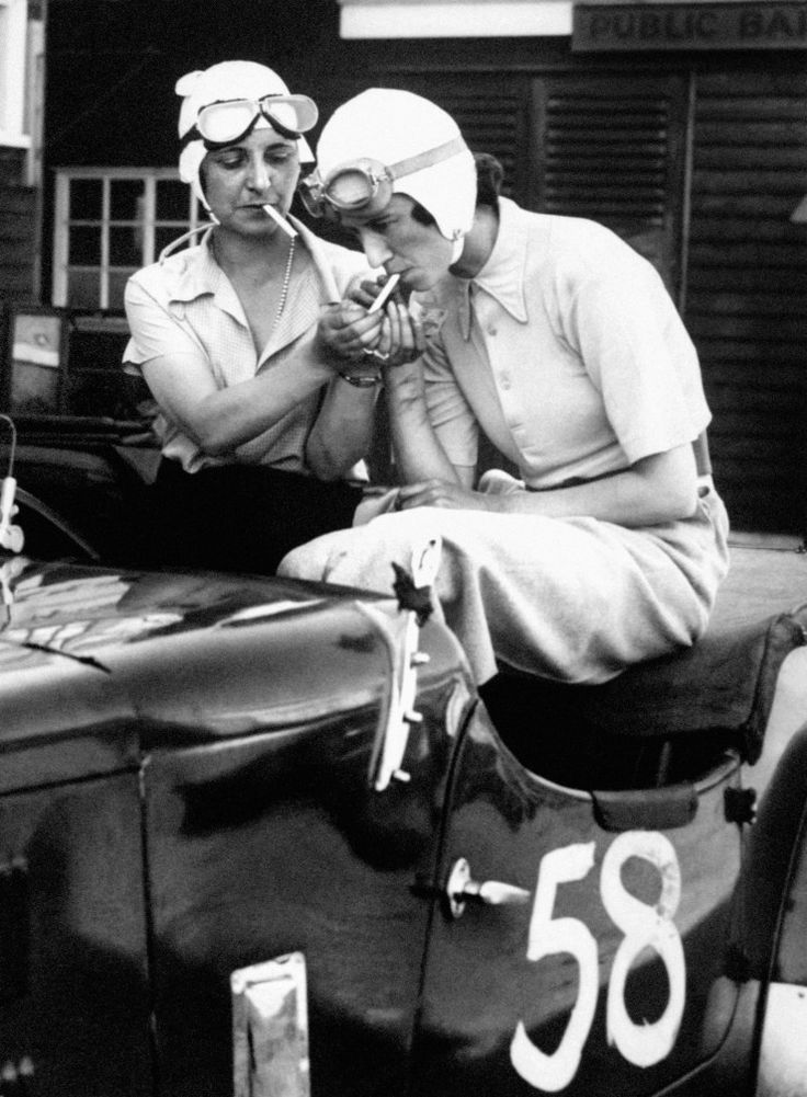racing drivers Mrs Gordon Simpson and Australian Joan Richmond in the former's 1921 3 litre Ballot racer (1934)