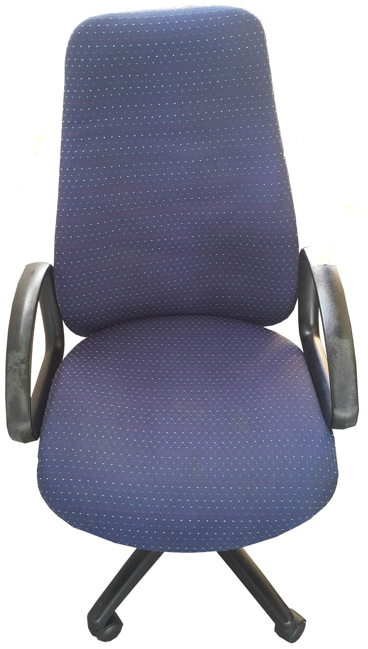 Blue patterned highback typist chair with gas & tilt @ R580.00