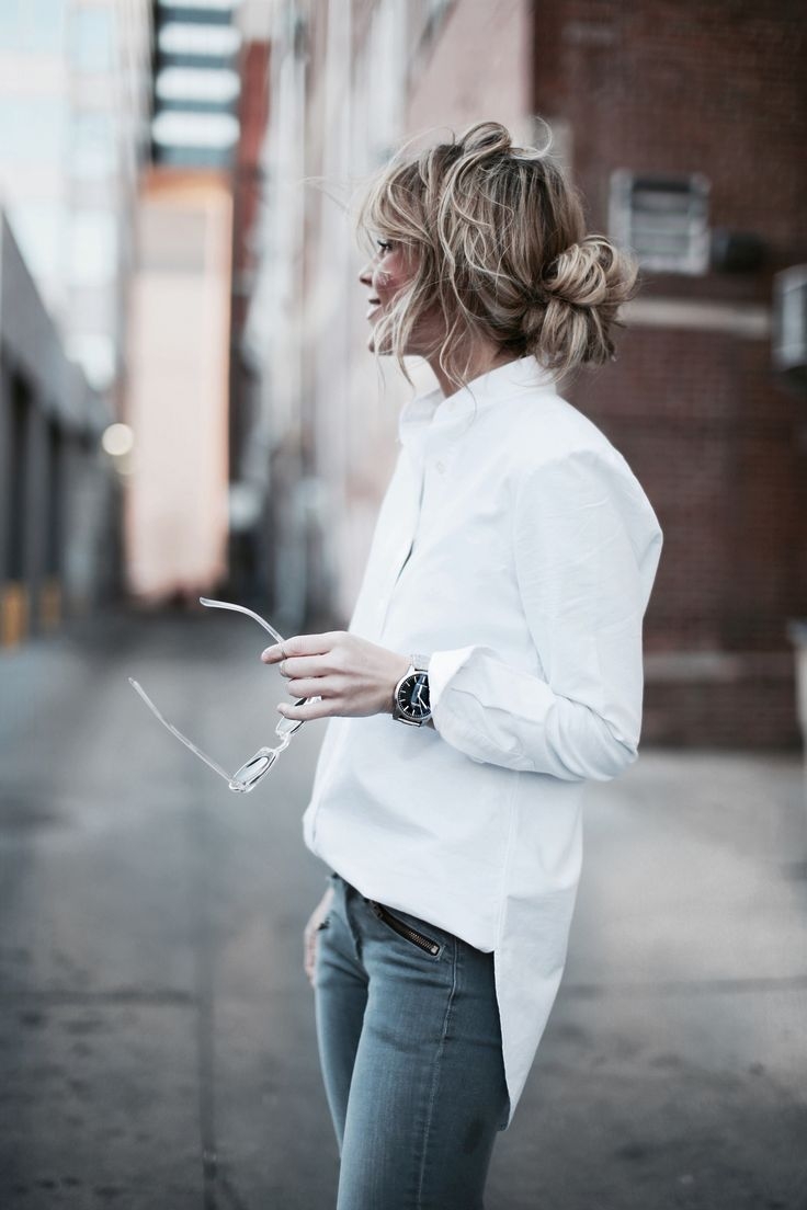Street style ideas 2016, white shirt and denim jeans, so simple and fresh.