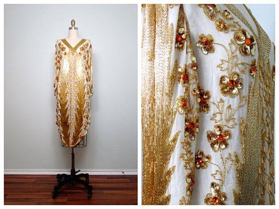 Art Deco Gold Beaded Dress • Ivory & Gold Sequined Pearl Beaded Dress • Golden Goddess Gatsby Flapper