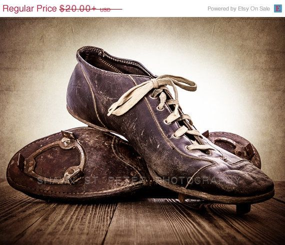 MEMORIAL DAY weekend SALE On Sale Vintage Football Cleats Photo Print, Decorating Ideas, Wall Decor, Wall Art, Kids Room, Rustic Decor, Vin on Etsy, $18.00