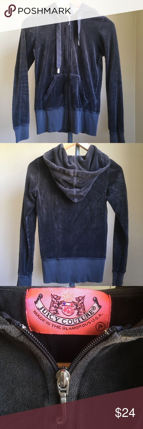 "Juicy Couture Hooded Sweatshirt Juicy Couture dark gray hooded zip up sweater. A soft and lush velvety feel. Petite size. It measures: 16"" from underarm to underarm, 23"" long from the shoulder down, and 23 1/2"" long sleeve. Like new, gently used. Juicy Couture Sweaters"