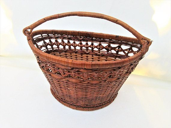 Vintage Wall Basket Hanging Basket Wicker Wall Pocket Wall Mounted Basket Handle Basket Co Wicker Baskets On Wall Bike Basket