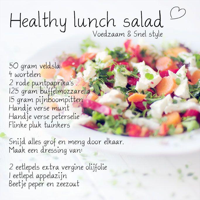 Een healthy salad met prachtige en gezonde ingrediënten, een voedzame salade om echt van te genieten, en je lichaam te voeden met vitamines en mineralen