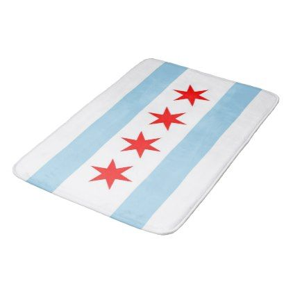 Large bath mat with flag of Chicago USA - cool gift idea unique present special diy