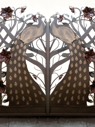 Artesano Ironworks gate w/ peacocks and flowers