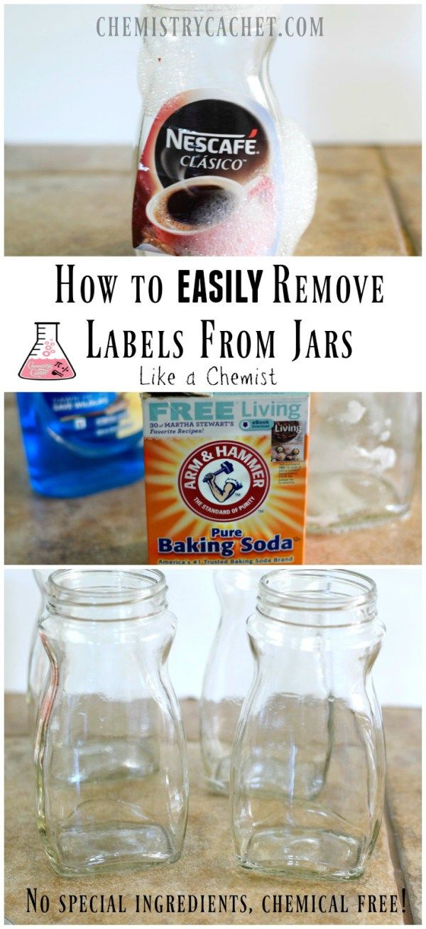 Tutorial on How to Remove Labels From Jars the easy way! No special ingredients needed and it only takes two steps! This is how we removed STUCK on labels in the chemistry lab without added chemicals. Find details on chemistrycachet.com