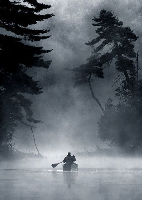 ♂ black & white mist forest man man on boat The Land of Ghosts
