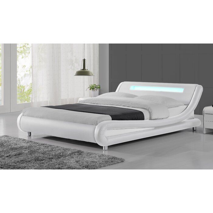 Abner Upholstered Sleigh Bed, Engelbertha White Queen Upholstered Bed