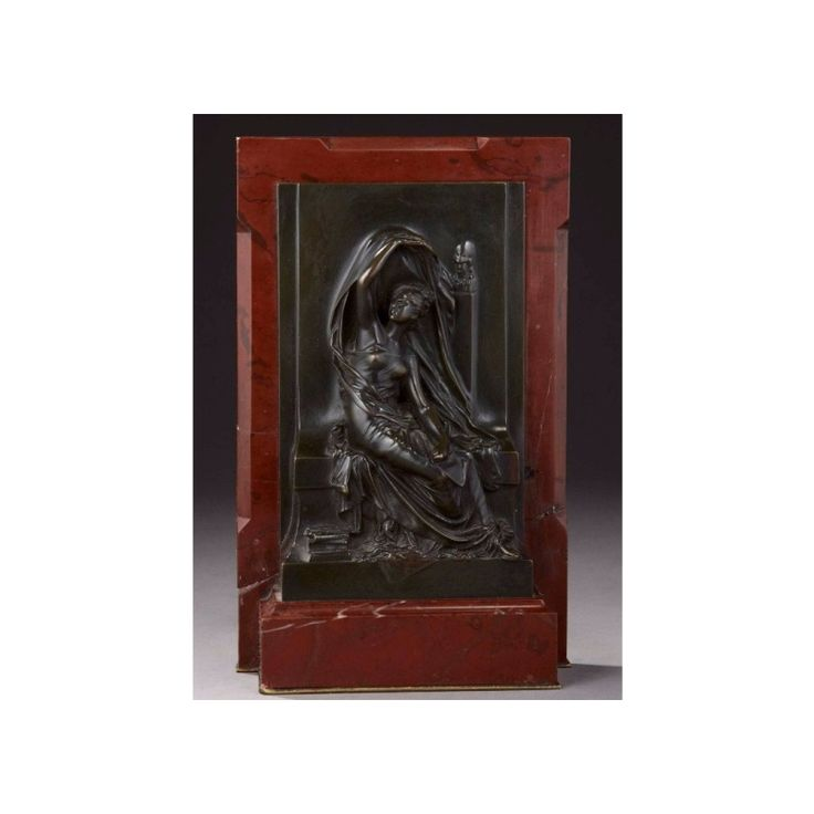 Henri Michel Antoine Chapu (French, 1833-1891) A bronze figural plaque of a seated muse Height: 41cm