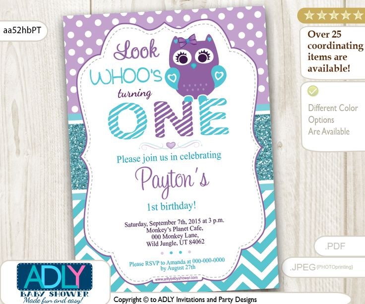 ADLY Invitations and Digital Party Designs - Teal and Purple Girl Owl Birthday Invitation, chevron and polka, $14.00 (http://www.adlybabyshower.com/teal-and-purple-girl-owl-birthday-invitation-chevron-and-polka/)