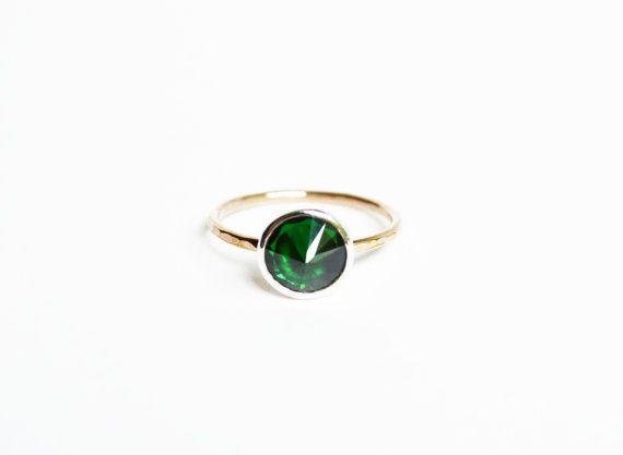 Emerald Ring Mixed Metal Ring Emerald Stone by StefanieSheehan, $118.00