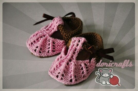 Knitted baby booties. Made from Indonesia cashmilon yarn