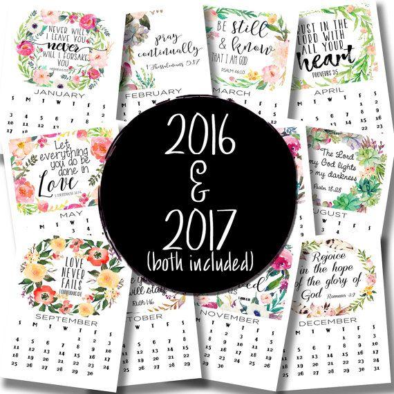 Scripture Calendar 2016 Calendar 2017 by LittleHollowPrints