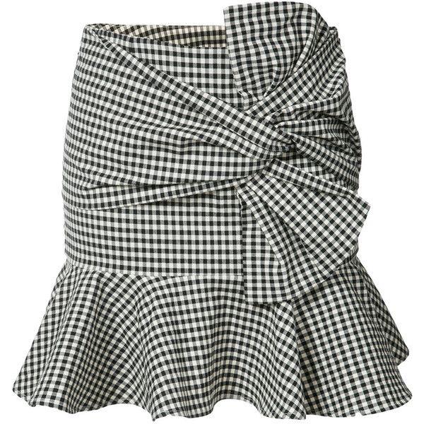 Veronica Beard gingham ruffle miniskirt (1,480 SAR) ❤ liked on Polyvore featuring skirts, mini skirts, black, frilled skirt, frilly skirt, flouncy skirt, black and white short skirt and black and white skirts
