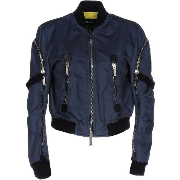 Dsquared2 Jacket ($950) ❤ liked on Polyvore featuring outerwear, jackets, slate blue, zip jacket, long sleeve jacket, blue zipper jacket, blue jackets and bomber jacket