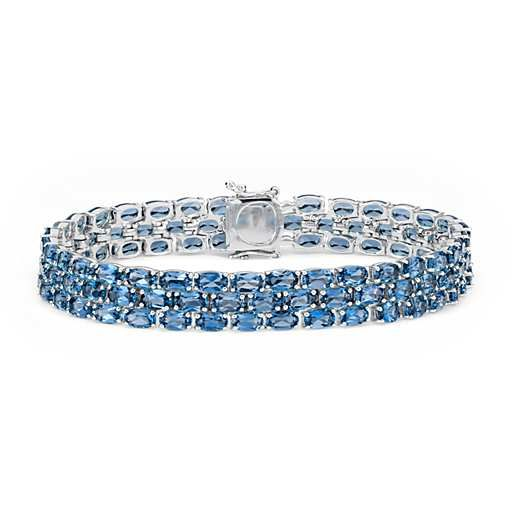Trio Oval London Blue Topaz Bracelet in Sterling Silver
