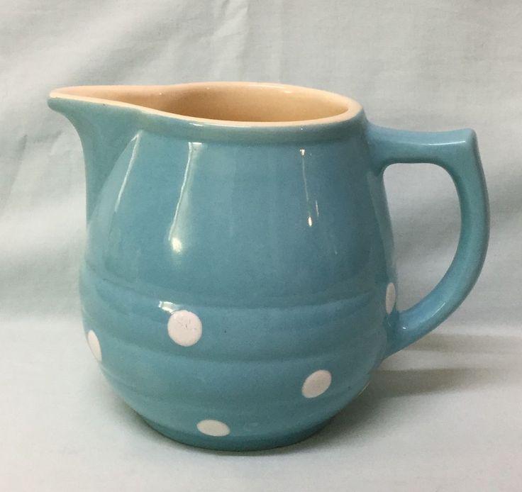 Blue Polka Dot Diana Pottery Custard Jug- Retro Decor