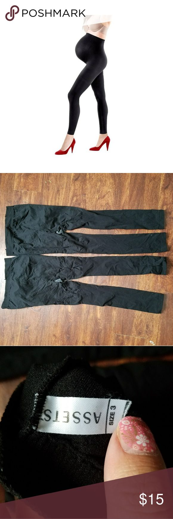 Assets by spanx maternity leggings footless sz 3 Most comfortable and useful thing i wore all pregnancy. I couldnt have made it through without them. No wear. They look new. Black footless support tights/leggings. Size 3. I have included the size chart from the back of a package but these do not come with packaging.  Questions are welcome. Reasonable offers considered. Discounts in bundles. ASSETS by Sara Blakely Pants Leggings