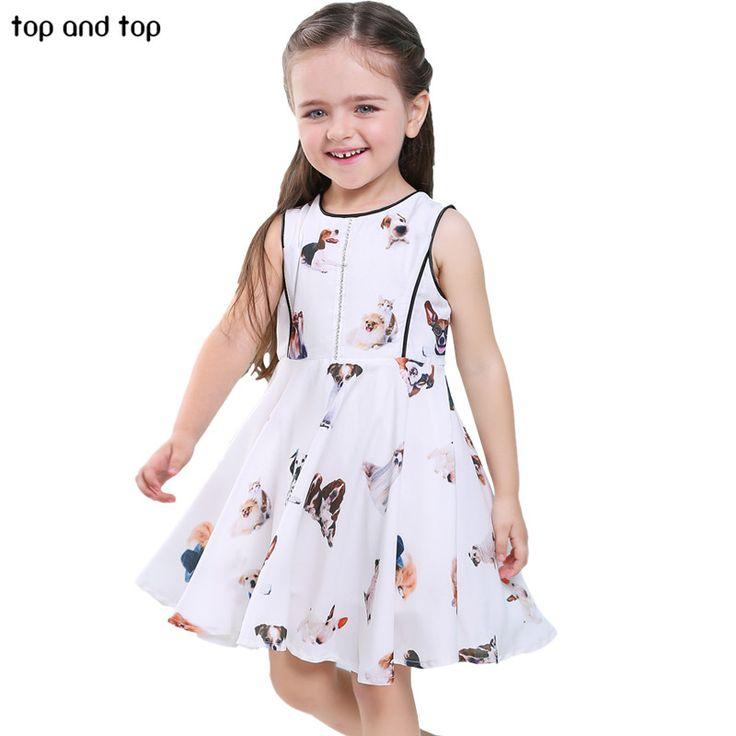 Crianças meninas Vestidos de Impressão Superior e superior Cães Dos Desenhos Animados Veste Crianças Vestido de Verão Menina roupas lindas em Vestidos de Mãe & Kids no AliExpress.com | Alibaba Group