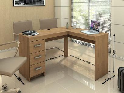 Mesa para Computador/Escrivaninha Fênix - 3 Gavetas - Politorno com as melhores condições você encontra no Magazine Daluzia. Confira!