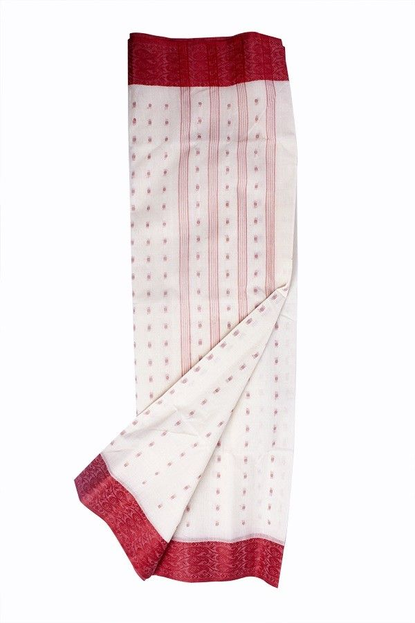 Bengal Tant Sarees | White base; Red work; Red design border | 9