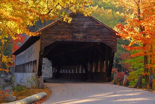 Love covered bridges .. Albany Covered Bridge in the Fall - New Hampshire Fall Foliage Picture