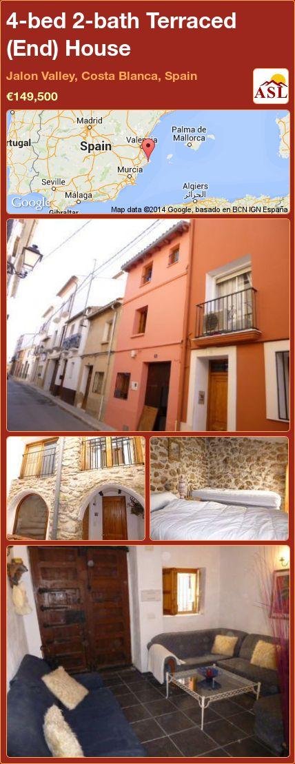 4-bed 2-bath Terraced (End) House in Jalon Valley, Costa Blanca, Spain ►€149,500 #PropertyForSaleInSpain