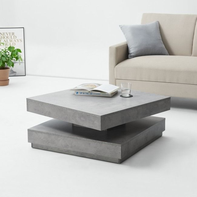 Table Basse Gris Beton Plateau Rotatif Table Basse Moderne Table Basse Design Table Basse 360 En 2020 Table Basse Grise Table Basse Table Basse Moderne