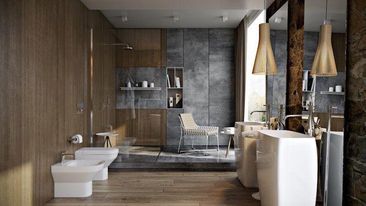 revêtements et meubles salle de bain bois massif et pierre naturelle par Paul Vetrov