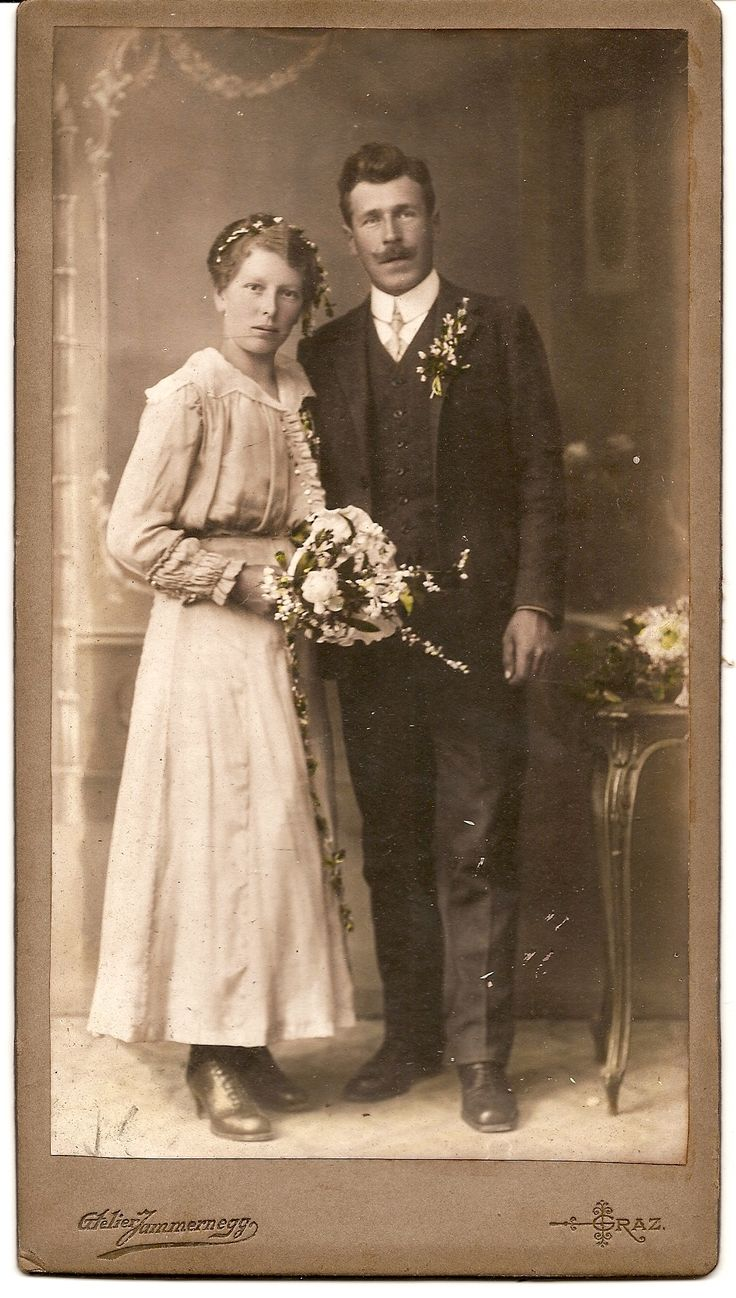 Austrian Wedding...Front...My husband spotted this beautiful Wedding large cabinet card in a frame at Wimborne Market/CarBoot yesterday 13th Sept 2013. We payed £3 for it, at first I thought it was German until I translated the back of the card and realized that Graz is in Austria..The flowers are lovely, he seems a Town Gent and she a Country Girl.Date is before 1916..see next picture of back of cabinet card