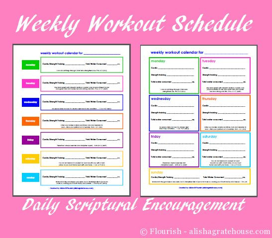 Free Printable Weekly Workout Schedules With Scriptures