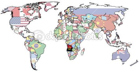 Angola on world map — Stock Image #2894190
