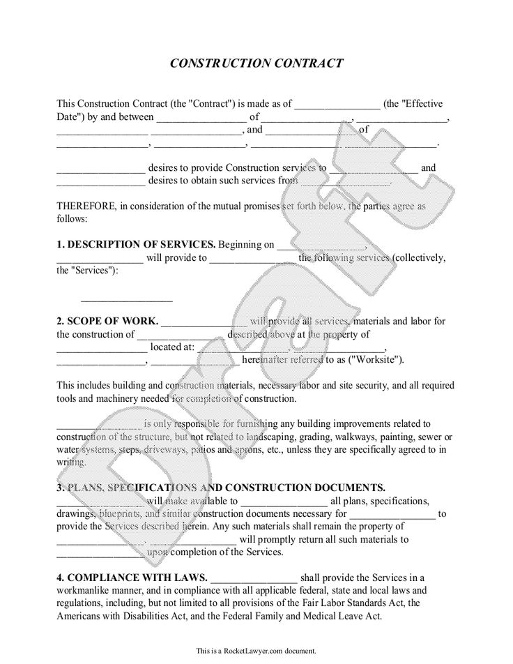 Construction Contract Template - Construction Agreement Form books