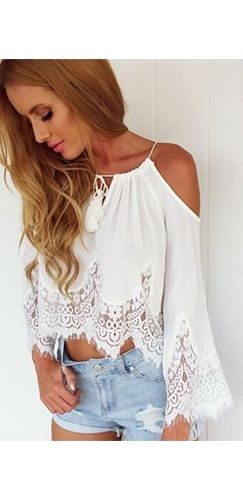 White Sheer Scallop Lace Spaghetti Strap Cut Out Shoulder Long Bell Sleeve Loose Crop Top