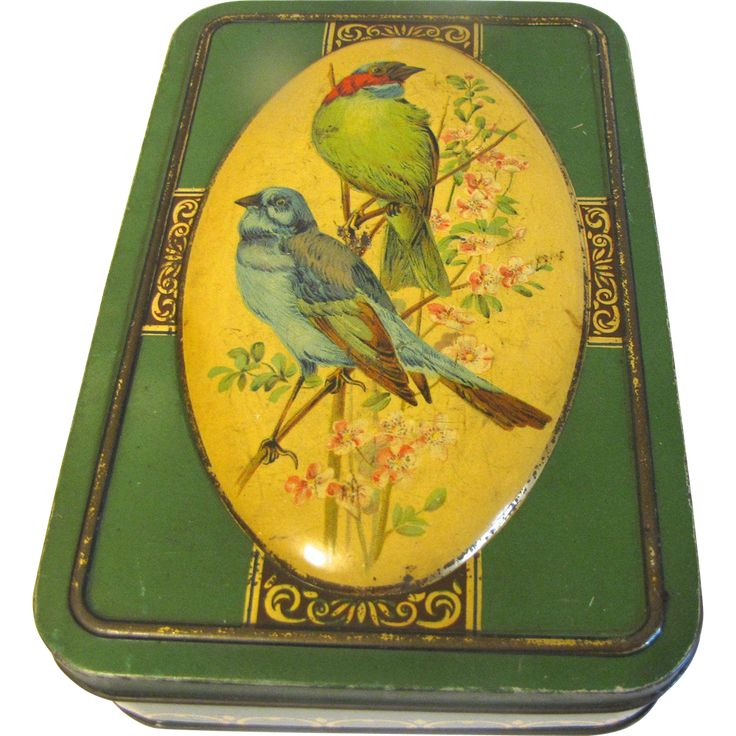 Lovely Vintage Biscuit Tin, Green with Bluebirds, Chiltonian, Ltd. London from Judy's Lovelies Exclusively on Ruby Lane