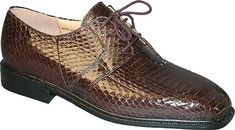 Giorgio+Brutini+Genuine+Snake+15522+-+Brown+with+FREE+Shipping+&+Returns.+Plain+toe+4+eyelet+blucher+with+snake+skin.Man-made+sole.
