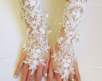 Black Wedding gloves french lace gloves bridal by GlovesByJana