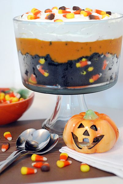 Black Velvet Halloween Trifle.  {crumbled chocolate cake, butterscotch pudding & whipped cream}