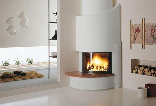 Modern Wjite Style Corner Round Fireplace In The Living