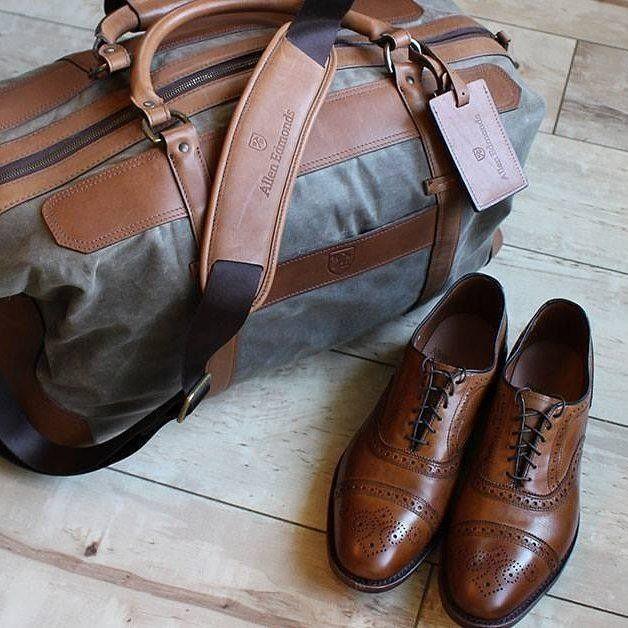 ALLEN EDMONDS LEATHER AND CANVAS WEEKENDER BAG & WALNUT STRAND CAP TOE OXFORD